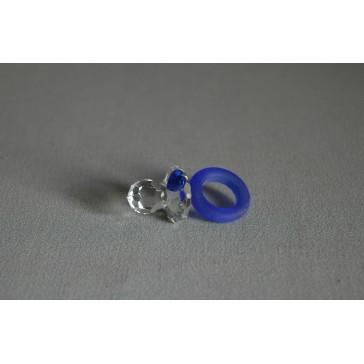 Dudlík 0101 srdíčko,modrý mat 2,5x2,5x4,5 cm