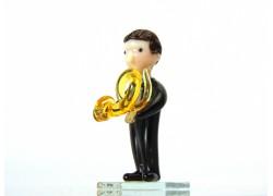 Figurine - musician playing forest horn www.sklenenevyrobky.cz