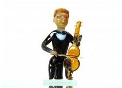 Figurine - musician playing violoncello www.sklenenevyrobky.cz