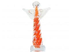 Glass angel, orange red color www.sklenenevyrobky.cz