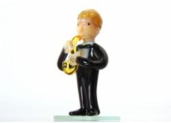 Figurine - musician playing saxophone www.sklenenevyrobky.cz