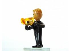 Figurine - Musician playing on Trumpet www.sklenenevyrobky.cz