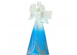 Christmas angel, with candlestick, blue www.sklenenevyrobky-cz