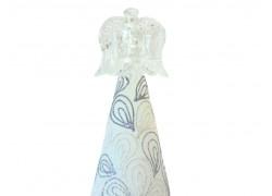 Christmas angel, with candlestick, in white decor www.sklenenevyrobky-cz