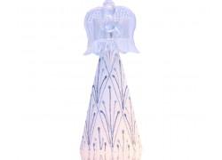 Christmas angel, with candlestick, in white silver decor decor www.sklenenevyrobky-cz