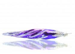 Vánoční ozdoba rampouch 14x3cm fialovo stříbrný