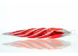 Vánoční ozdoba rampouch 14x3cm červeno stříbrný