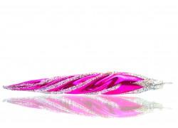Vánoční ozdoba rampouch 14x3cm růžově stříbrný