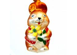Easter bunny red jacket 4005 www.sklenenevyrobky.cz
