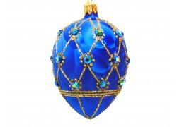 Faberge egg, blue ice decor - 2001 www.sklenenevyrobky.cz