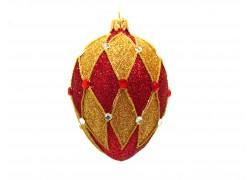 Faberge egg red gold decor 5001 www.sklenenevyrobky.cz