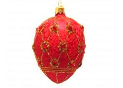 Faberge eggs, red ice decor - 2001 www.sklenenevyrobky.cz