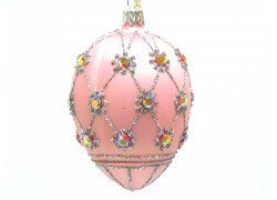 Faberge eggs, in pink decor, decorated with glass stones-5003 www.sklenenevyrobky.cz