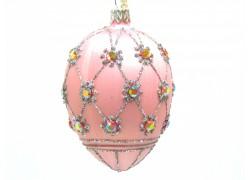 Fabergé vejce 5003 růžový mat zdobený skleněnými kameny
