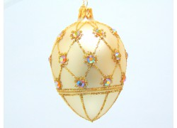 Faberge eggs, in golden decor, decorated with glass stones-2003 www.sklenenevyrobky.cz