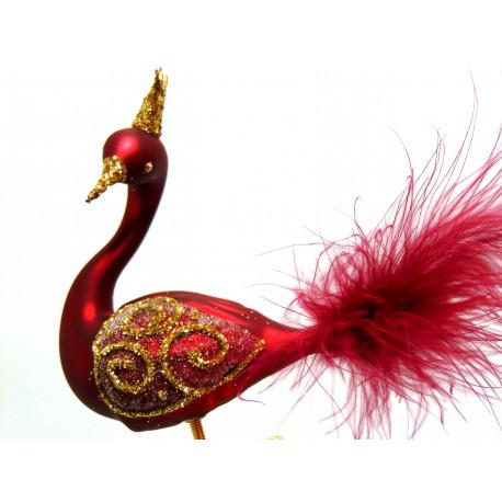 Christmas decoration Swan 2035 color claret