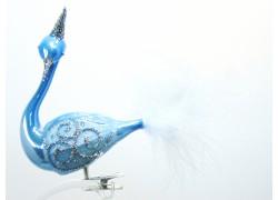 Christmas decoration Swan blue porcelain