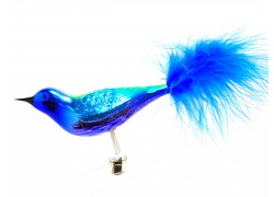 Weihnachtsschmuck mit Clip, Vogel, Spatz 3347 Blue Glitter