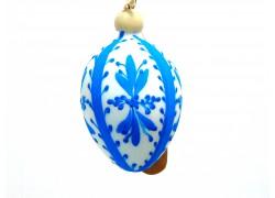 Osterei mit Holznadel 1006 gemalt blau