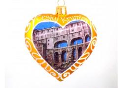 Weihnachtsschmuck Herzmalerei Motiv Český Krumlov