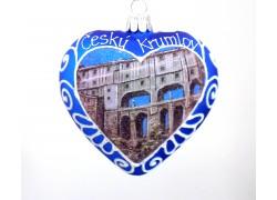 Weihnachtsschmuck Herzmalerei Motiv Český Krumlov www.sklenenevyrobky.cz