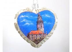 Vánoční ozdoba, Srdce 10cm dekorované Český Krumlov www.sklenenevyrobky.cz