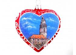 Vánoční ozdoba, Srdce 10cm dekorované Český Krumlov