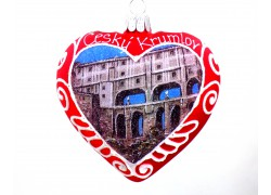 Vianočné ozdoby Srdce Maľba motív Český Krumlov www.sklenenevyrobky.cz