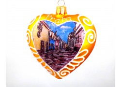 Vánoční ozdoba, Srdce 10cm dekorované Praha