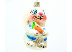 Christmas ornament Hare with carrot 1660 in white decor www.sklenenevyrobky.cz