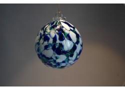 Glass sphere 8cm blue-white-green www.sklenenevyrobky.cz