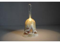 Zvonek vánoční s držadlem 14 cm zlatý