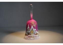 Zvonek vánoční s držadlem 14 cm fialový