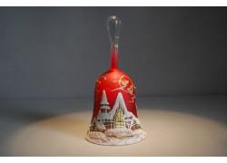 Zvonek vánoční s držadlem 14 cm červený