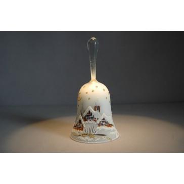 Zvonek vánoční s držadlem 14 cm bílý