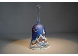 Zvonek vánoční s držadlem 14 cm modrý