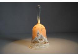 Zvonek vánoční s držadlem 14 cm oranžový