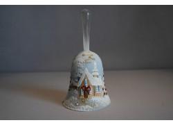 Zvonek vánoční 14 cm lux motiv světle modrý