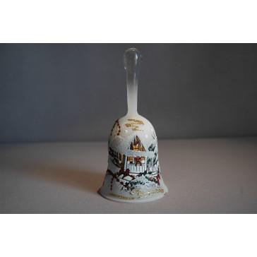 Zvonek vánoční 14 cm lux motiv bílý II.