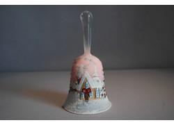 Zvonek vánoční 14 cm lux motiv růžový