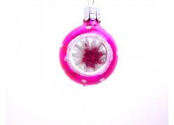 Vánoční miniatura 3cm koule, růžová www.sklenenevyrobky.cz