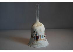 Christmas bell, in white retro decor www.sklenenevyrobky.cz