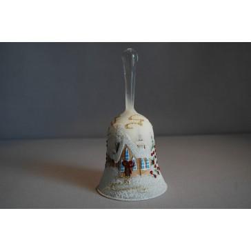 Zvonek vánoční 14 cm lux motiv bílý