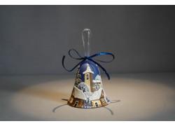 Zvonek vánoční s mašlí 10 cm modrý