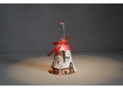 Zvonek vánoční s mašlí 10 cm růžový