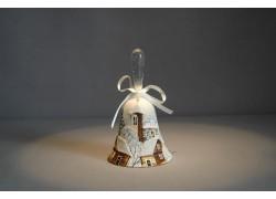 Zvonek vánoční s mašlí 10 cm bílý