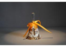 Zvonek vánoční s mašlí 10 cm žlutý
