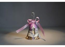 Zvonek vánoční s mašlí 10 cm fialový