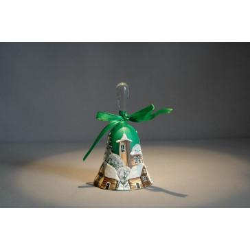 vánoční zvonek s mašlí 10 cm zelený www.sklenenevyrobky.cz