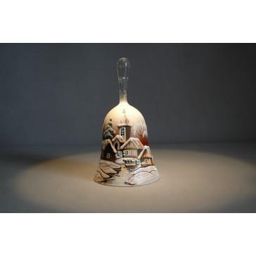 Zvonek vánoční s držadlem 10 cm den/noc skořicový